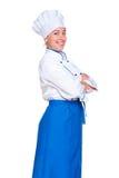 Tiro do estúdio do cozinheiro do smiley Fotografia de Stock