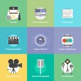 Tiro do filme e ícones lisos da produção ajustados Imagens de Stock