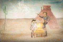Tiro do menino da vaca em uma situação ocidental fotografia de stock royalty free