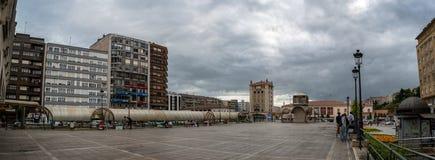 Tiro do panorama de Busstation Santander imagem de stock