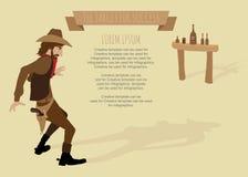 Tiro do vaqueiro o alvo da arma para o sucesso. Fotografia de Stock Royalty Free