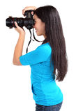Tiro fêmea do fotógrafo alguém ou algo fotografia de stock