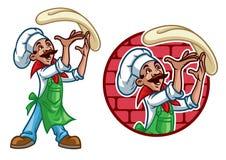 Tiro feliz del cocinero la pasta de la pizza stock de ilustración
