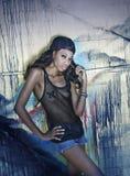 Tiro hip-hop di modello afroamericano Immagini Stock