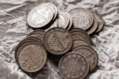 Tiro imperial do macro do close-up das moedas de prata do russo Fotografia de Stock Royalty Free