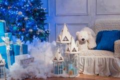 Tiro interior del estudio del árbol de navidad Fotografía de archivo