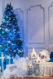 Tiro interior del estudio del árbol de navidad Fotos de archivo libres de regalías