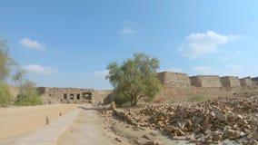 Tiro interior del fuerte de Derawar en Bahawalpur Paquist?n almacen de metraje de vídeo