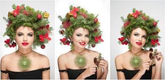 Tiro interno criativo bonito da composição e do penteado do Xmas Modelo de forma Girl da beleza Inverno Elegante bonito no estúdi Fotos de Stock Royalty Free