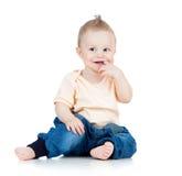 Tiro isolado bebé de sorriso pequeno do estúdio Imagens de Stock