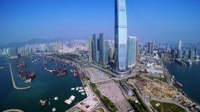 tiro 4K apertado aéreo de Hong Kong de China vídeos de arquivo