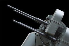 Tiro lateral aislado de una ametralladora antiaérea fotografía de archivo