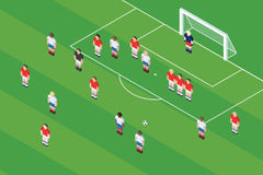 Tiro libre del fútbol/del fútbol Bola en el punto del tiro libre Foto de archivo libre de regalías