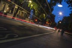 Tiro longo da exposição da estrada de Londres Edgware Foto de Stock Royalty Free