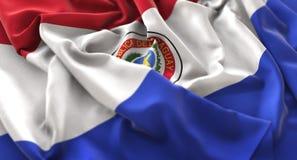 Tiro macro belamente de ondulação enrugado do close-up da bandeira de Paraguai foto de stock