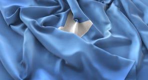Tiro macro belamente de ondulação enrugado do close-up da bandeira de Somália Fotos de Stock Royalty Free