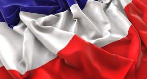 Tiro macro belamente de ondulação enrugado do close-up da bandeira dos altos do Los Fotos de Stock