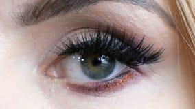 Tiro macro bonito do olho fêmea com as pestanas longas extremas Cara perfeita, composição e chicotes longos vídeos de arquivo