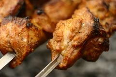 Tiro macro Cocinar kebabs en naturaleza imagen de archivo