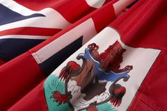 Tiro macro da bandeira de Bermuda Fotografia de Stock