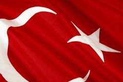 Tiro macro da bandeira turca Imagens de Stock