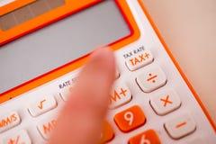 Tiro macro da calculadora do imposto Fotos de Stock