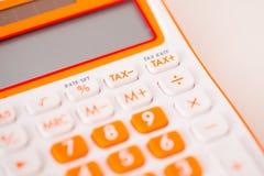 Tiro macro da calculadora do imposto Imagens de Stock