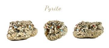 Tiro macro da pedra preciosa natural O mineral cru é pirite, China Objeto isolado em um fundo branco Imagens de Stock