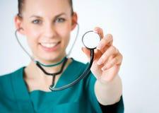 Tiro macro da pessoa médica Fotografia de Stock