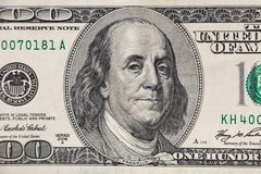 Tiro macro de cem dólares de conta Foto de Stock Royalty Free