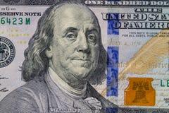 Tiro macro de cem dólares de conta Imagem de Stock Royalty Free