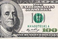 Tiro macro de cem dólares de conta Fotografia de Stock