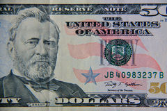 Tiro macro de cinqüênta dólares de conta Foto de Stock Royalty Free