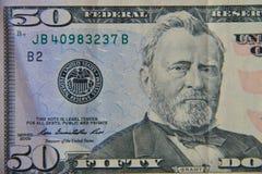 Tiro macro de cinqüênta dólares de conta Imagens de Stock Royalty Free