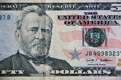 Tiro macro de cinqüênta dólares de conta Fotos de Stock Royalty Free