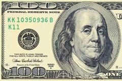 Tiro macro de 100 dólares Imagenes de archivo