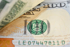 Tiro macro de 100 dólares de EE. UU. Fotografía de archivo