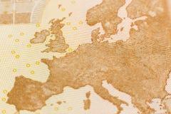 Tiro macro de la cuenta del euro cincuenta Imagen de archivo libre de regalías