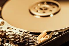 Tiro macro de la unidad de discos duros abierta Imagen de archivo