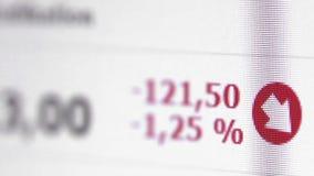 Tiro macro de las figuras de comercio en tiempo real de la bolsa de acción en la pantalla de ordenador almacen de video