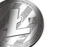 Tiro macro de Litecoin e de espaço da cópia ilustração royalty free