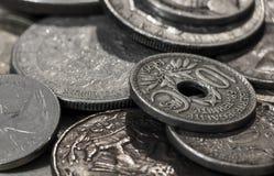 Tiro macro de moedas velhas Imagens de Stock