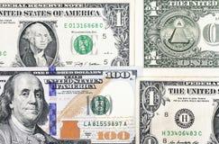 Tiro macro de nuevo 100 billetes de dólar y de un dólar Foto de archivo