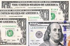 Tiro macro de umas 100 notas de dólar nova e de um dólar Fotografia de Stock Royalty Free