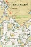 Tiro macro de una vieja carta marina, archipiélago de detalle de Estocolmo stock de ilustración