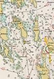 Tiro macro de una vieja carta marina, archipiélago de detalle de Estocolmo libre illustration