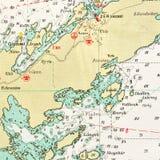 Tiro macro de una vieja carta marina, archipiélago de detalle de Estocolmo ilustración del vector