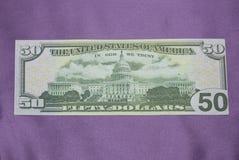 Tiro macro de uns 50 dólares Imagens de Stock Royalty Free