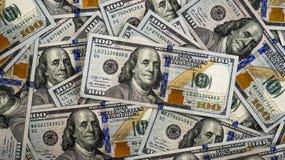 Tiro macro de uns 100 dólares Dólares do conceito do close up Dólares americanos do dinheiro do dinheiro bucks Fundo das cem nota fotografia de stock
