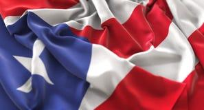 Tiro macro del primer de Puerto Rico Flag Ruffled Beautifully Waving imagen de archivo
